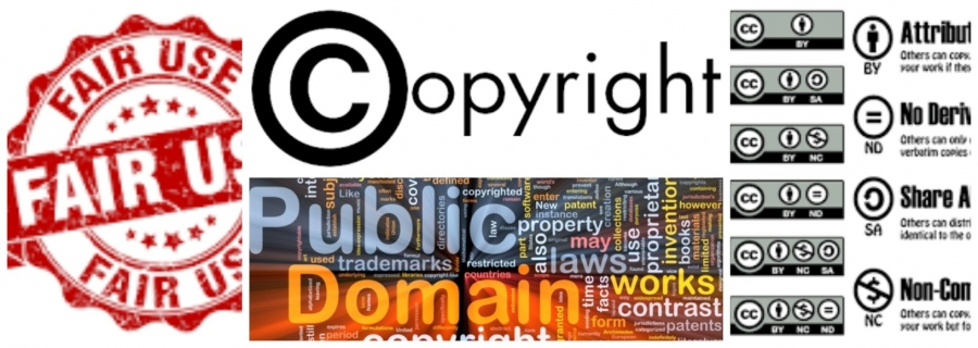 Collage of images related to copyright, fair use, public domain and creative commons