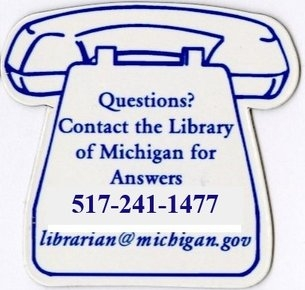 Line drawing of a telephone with Library of Michigan contact information